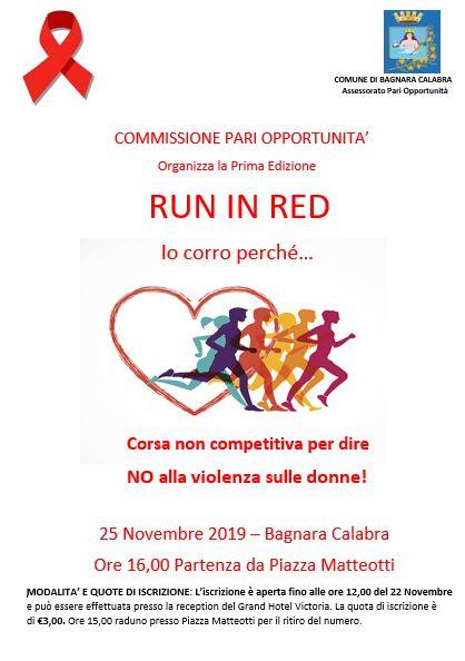 """Bagnara, il 25 novembre """"Run in Red – Io corro perché…"""""""