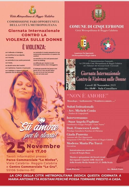 Giornata contro la violenza sulle donne, le iniziative in programma
