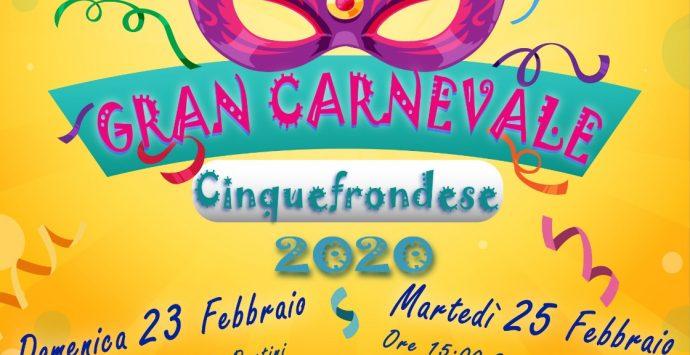 """Cinquefrondi: il 23 e 25 febbraio torna il """"Gran Carnevale"""""""