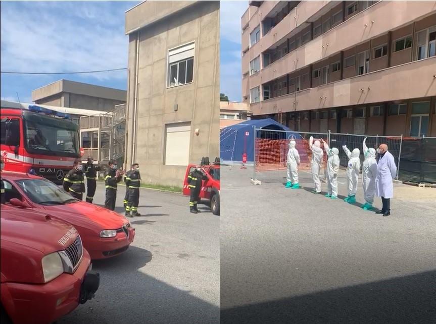 Coronavirus, l'omaggio dei vigili del fuoco al personale sanitario di Reggio Calabria