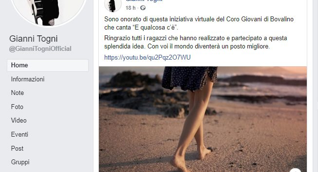 Coronavirus e solidarietà, per il coro di Bovalino arrivano i complimenti di Gianni Togni