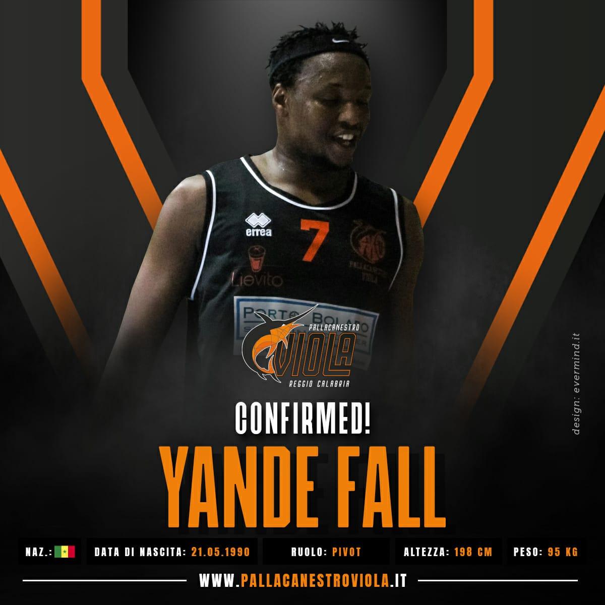 Viola, confermato per la terza volta in neroarancio Yande Fall