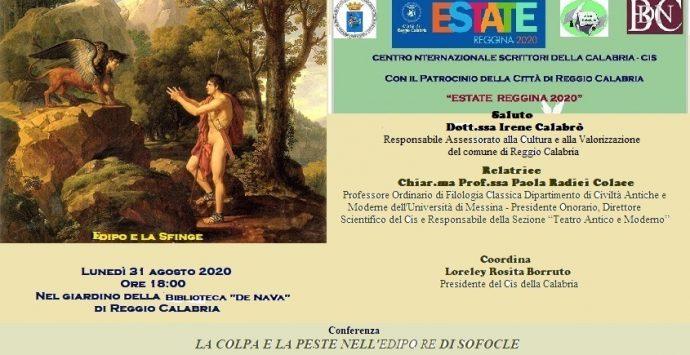 """Reggio Calabria, incontro del Cis Calabria su """"La colpa e la peste nell'Edipo Re"""" di Sofocle"""