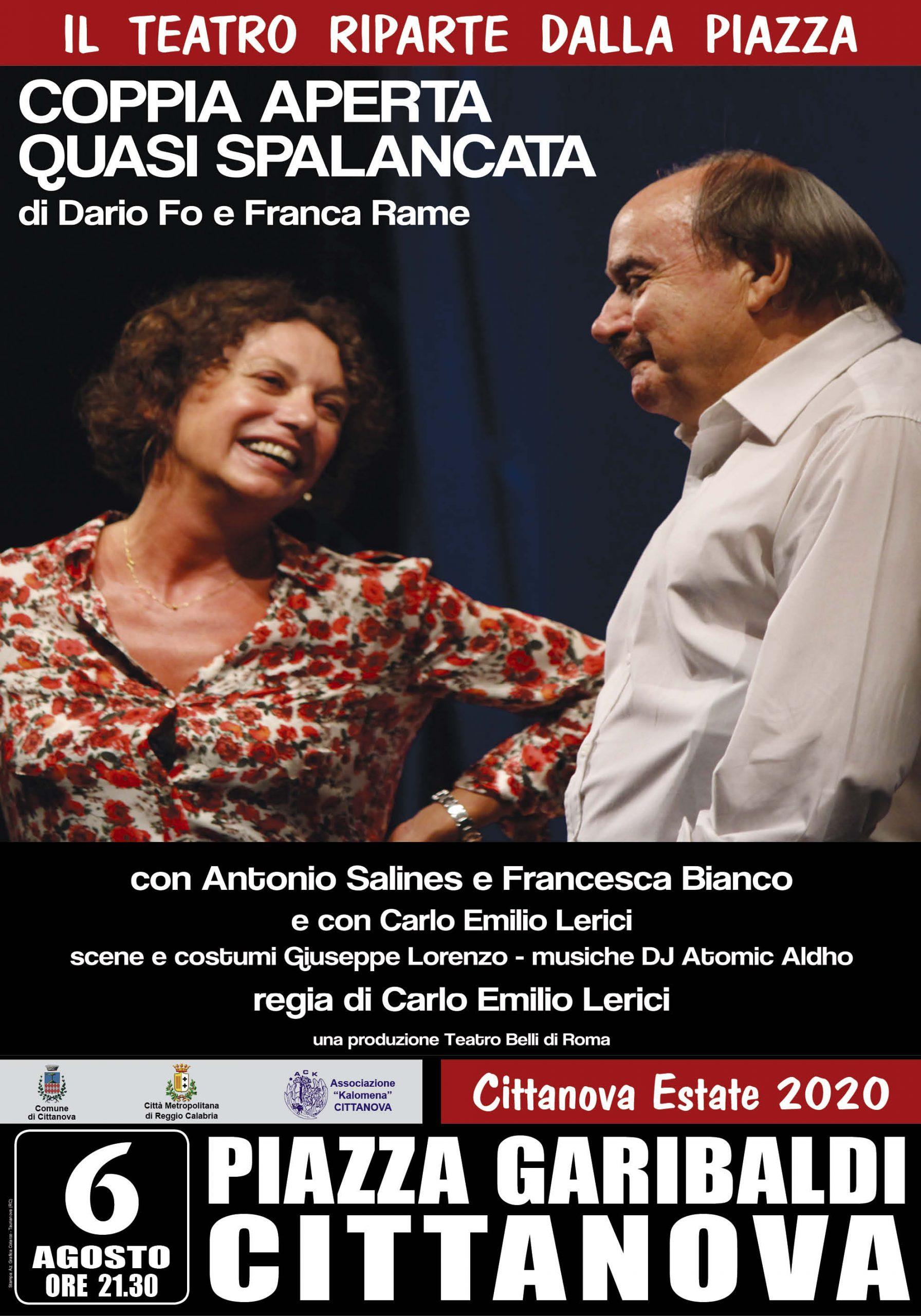 "Cittanova Estate 2020, in scena ""Coppia aperta, quasi spalancata"""