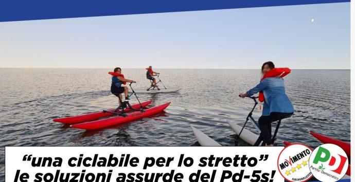 """La Lega lancia la """"Pedalata sullo Stretto"""" dopo la clamorosa uscita del ministro De Micheli"""