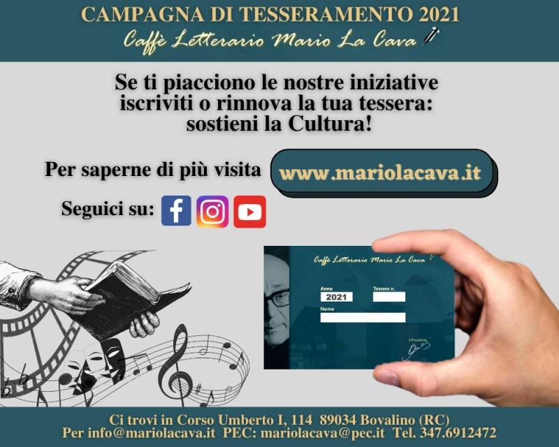 """Bovalino, al via la campagna tesseramenti del caffè letterario """"Mario La Cava"""""""