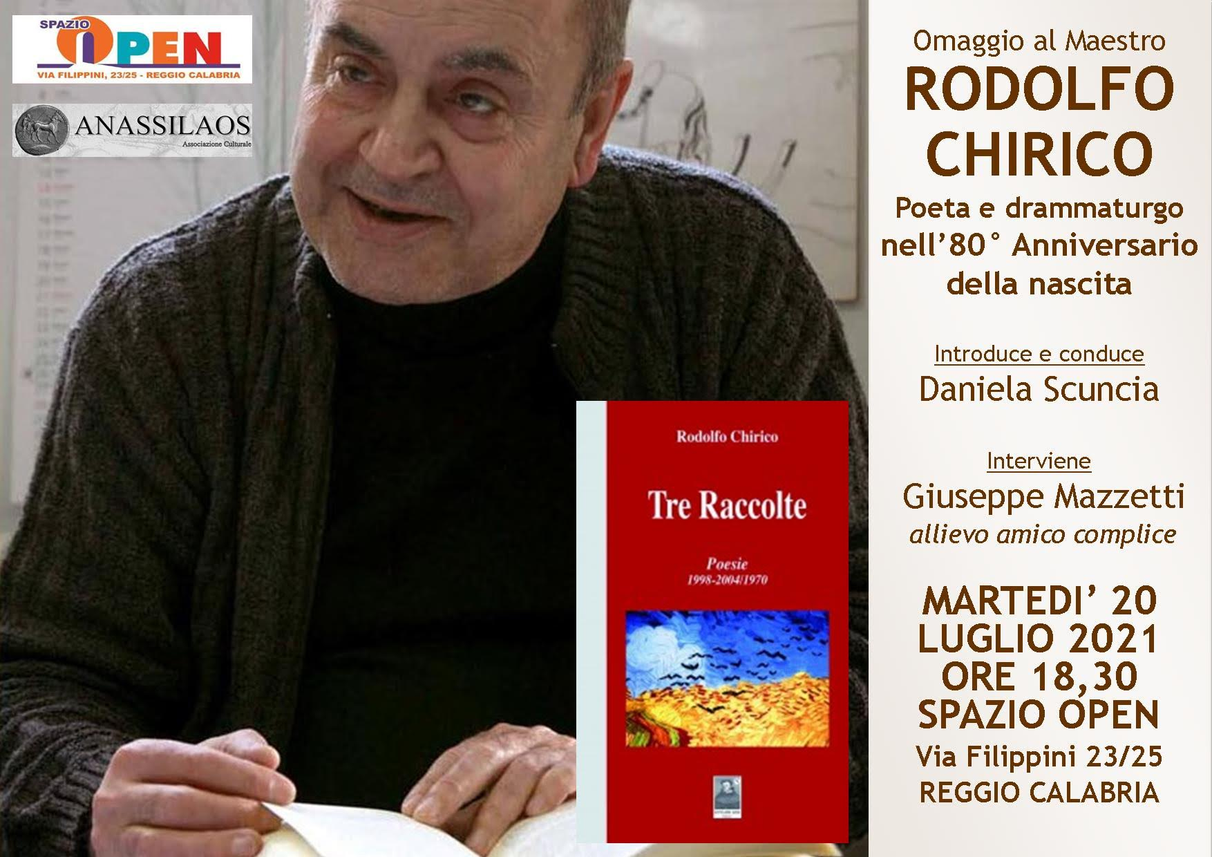 Reggio, l'associazione Anassilaos rende omaggio al poeta Rodolfo Chirico